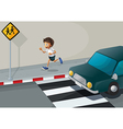 A man running at the road with a car vector image vector image
