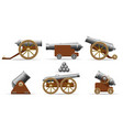 antique pirate cannons set vector image