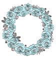 blue roses wedding floral wreath vector image vector image