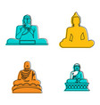 buddha statue icon set color outline style vector image vector image