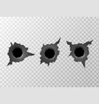bullet hole torn surface from bullet ripped metal vector image vector image