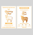 butchery shop poster with lamb meat cutting charts vector image vector image