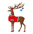 christmas deer with beautiful horns vector image vector image