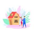 couple outside house flat vector image
