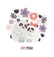 cute pandas hugging love vector image vector image