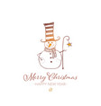cute snowman with cylinderand crook on white vector image vector image