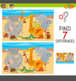 differences puzzle with animal characters vector image vector image