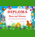 diploma or certificate with easter eggs and bunny vector image