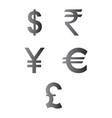 dollar euro rupees pound and yen currency icons vector image vector image