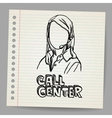 Doodle girl call center operator vector image vector image