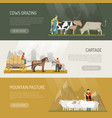 farm animals pasture banners vector image