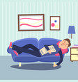 funny sleeping man at home sofa with newspaper vector image