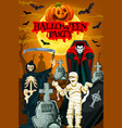 halloween night party banner with horror cemetery vector image vector image