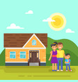 house with happy family vector image vector image