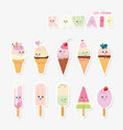 kawaii ice cream set sweets isolated on white vector image vector image