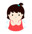 little girl with a cold shivering cartoon vector image vector image