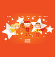 little superhero character kid male and female vector image