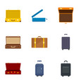 Luggage bag icon set flat style