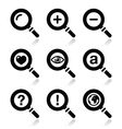 Magnifying glass search icons set vector image vector image