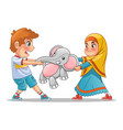 muslim girl and boy fighting over a doll vector image vector image