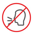 no talking line icon prohibited and warning do vector image vector image