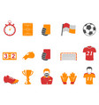 orange and red color football icons set vector image vector image