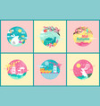 ornate emblems for happy mid autumn festival event vector image vector image