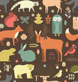 pattern with forest animals mae in flat style fox vector image