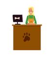 pet shop cashier standing at cash register desk vector image vector image