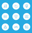 public skyline icons line style set with recycle vector image