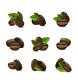 realistic 3d coffee various beans set vector image vector image