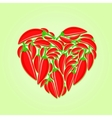 Red Hot Peppers in Shape of Heart vector image