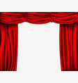 red silk curtain with shadows and pelmet vector image