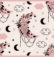 seamless pattern with beautiful floral moon vector image vector image