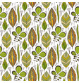 seamless pattern with ethnic leaves ornament vector image vector image