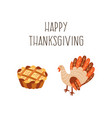 set of thanksgiving pie and turkey isolated vector image vector image