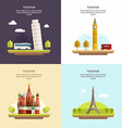 Set of Tourism Concept Flat Style Tower of Pisa vector image vector image