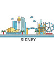 sidney city skyline buildings streets vector image vector image