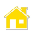 silhouette with yellow house and trees vector image vector image