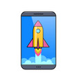 smartphone with flying rocket on touch screen vector image vector image