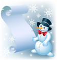 snowman with a sheet of paper christmas vector image vector image
