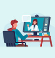 telehealth doctor consultation patient talks with vector image
