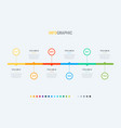 timeline with 6 steps circle business workflow vector image vector image