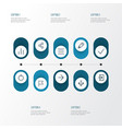 user icons line style set with pencil schedule vector image vector image