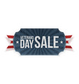 veterans day sale blue label with ribbon vector image vector image