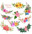 Watercolor Vintage floral frame vector image