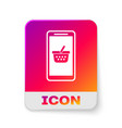 white mobile phone and shopping basket icon vector image vector image