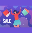 woman running with shopping bags vector image vector image