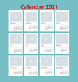 2021 calendar print template with place for photo vector image vector image
