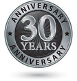 30 years anniversary silver label vector image